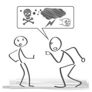 Auch verbales Mobbing steht unter Strafe, z. B. als Beleidigung oder Verleumdung.